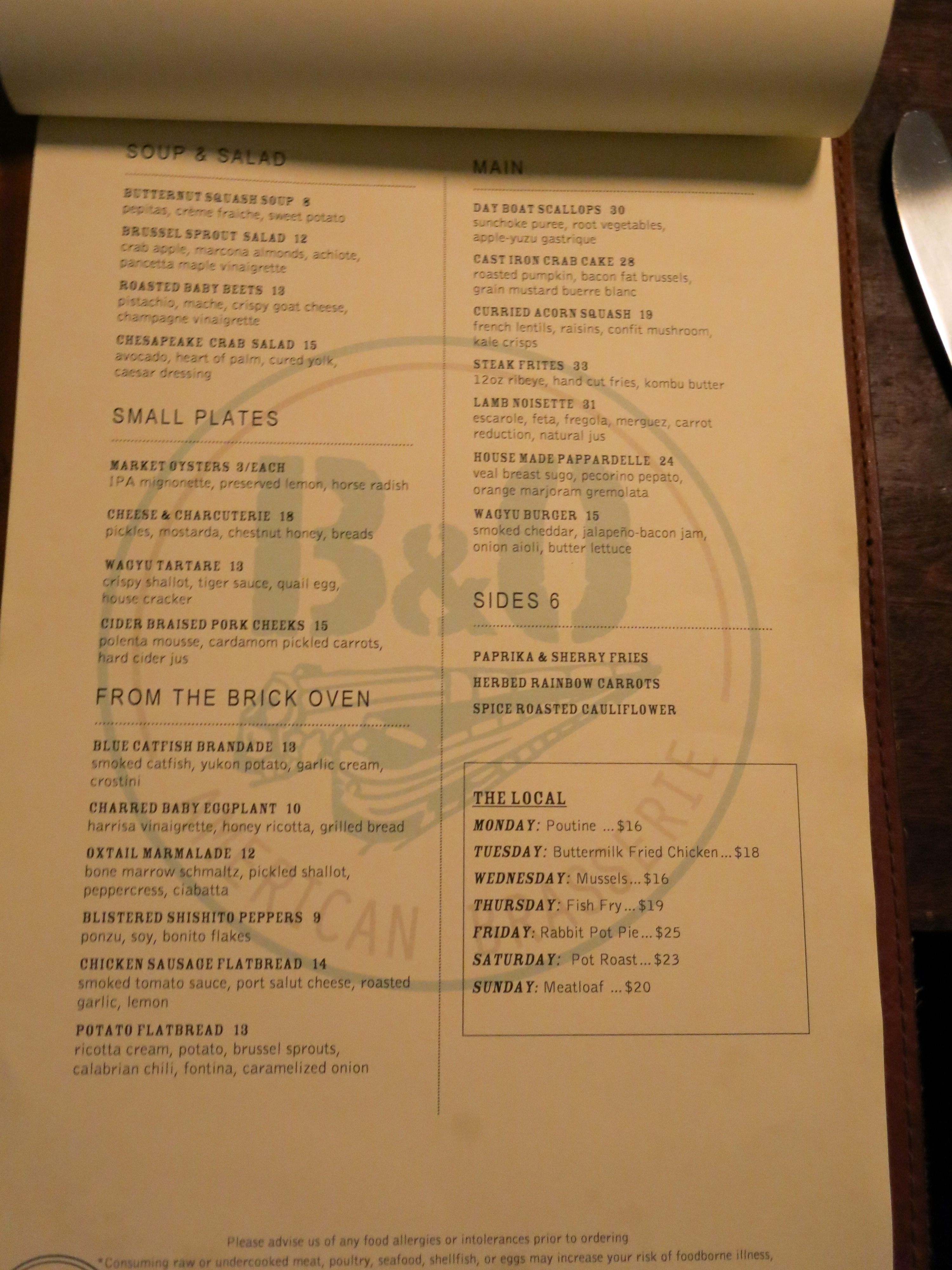 Dinner Menu at B&O Brasserie