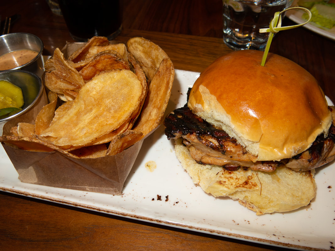 Grilled Chicken Sandwich and Potato Chips at Barrel & Bushel in Hyatt Regency Tysons Corner Center