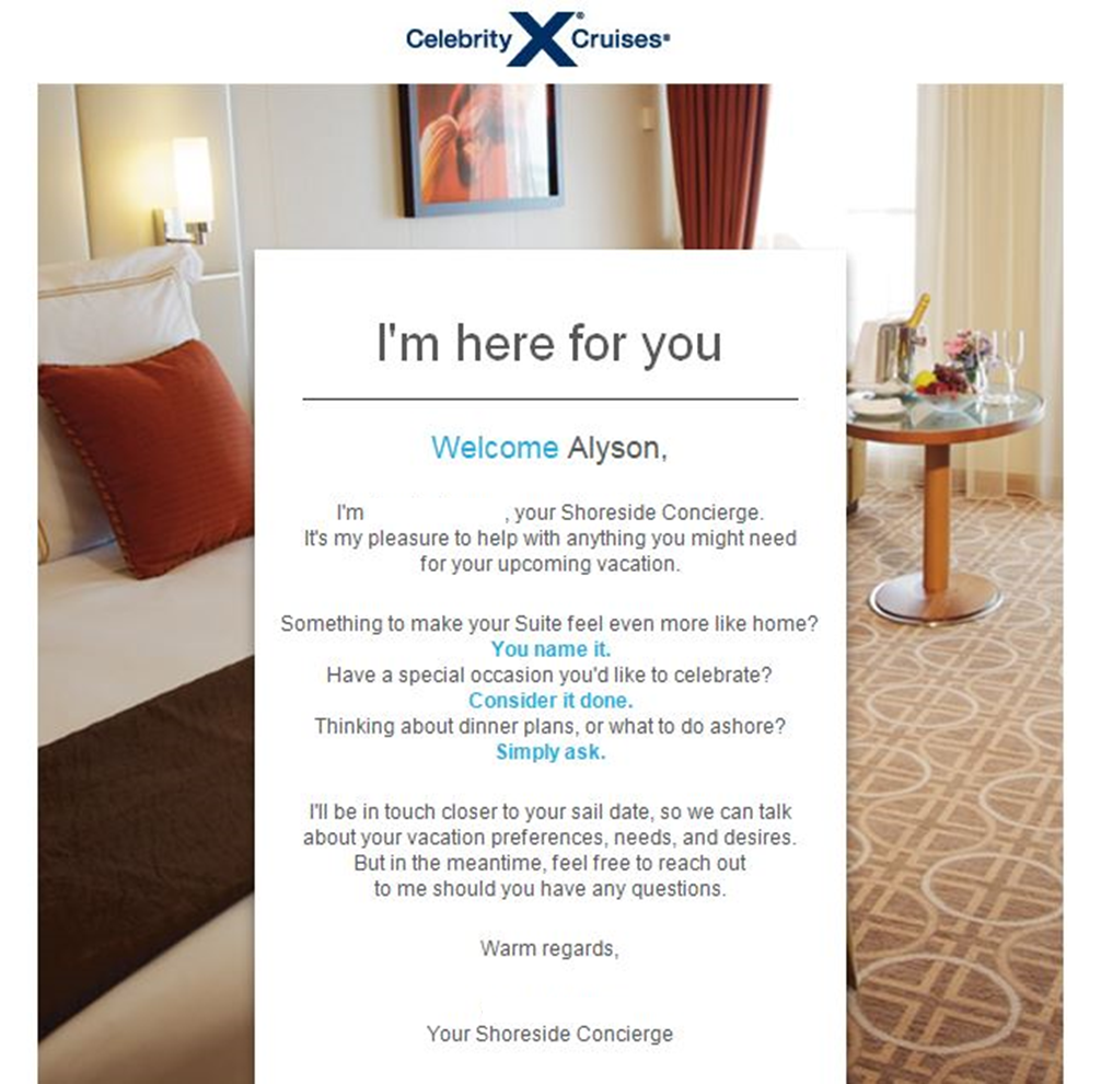 Shoreside Concierge Email from Celebrity Cruises