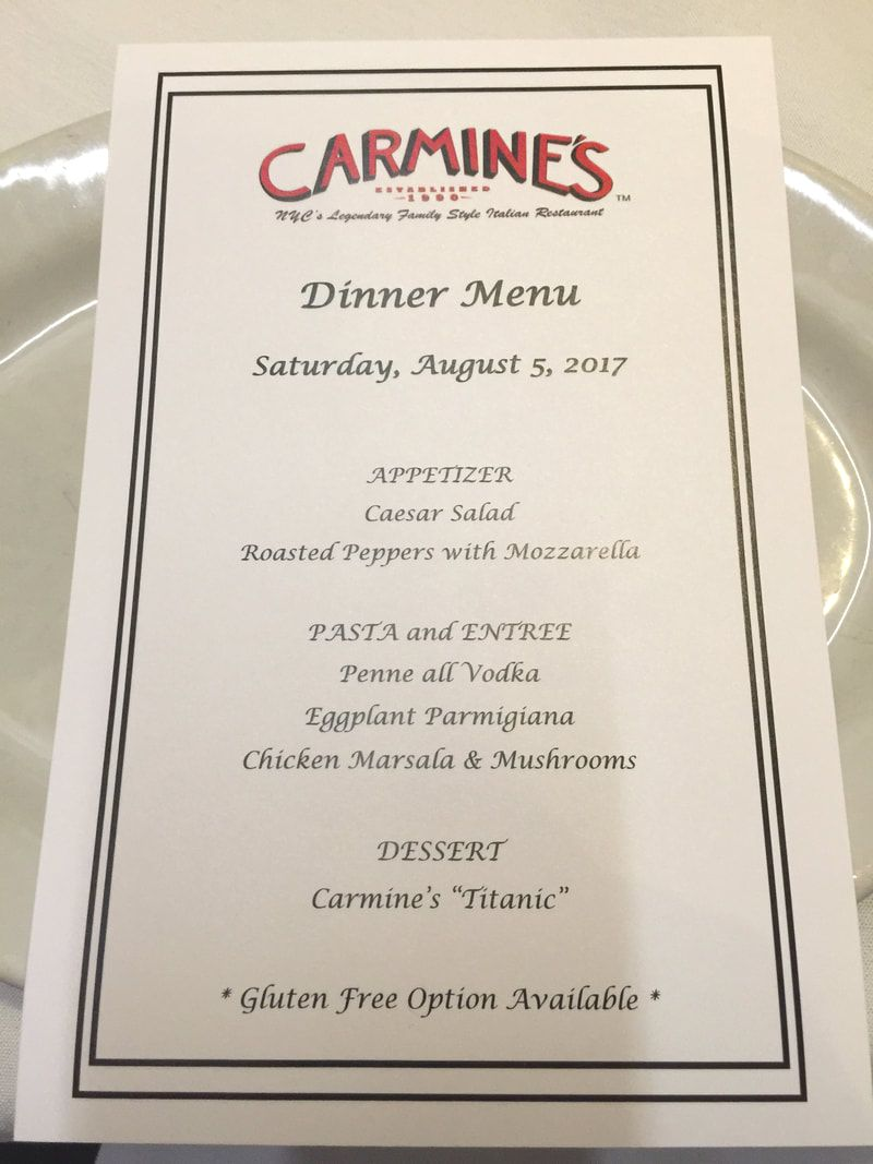 Sample Party Menu at Carmine's in Washington DC