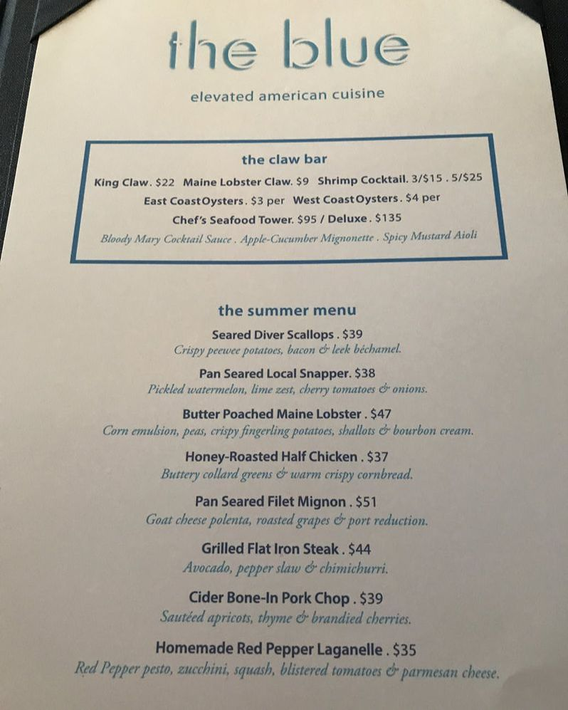 Menu from the blue at Boca Raton Resort