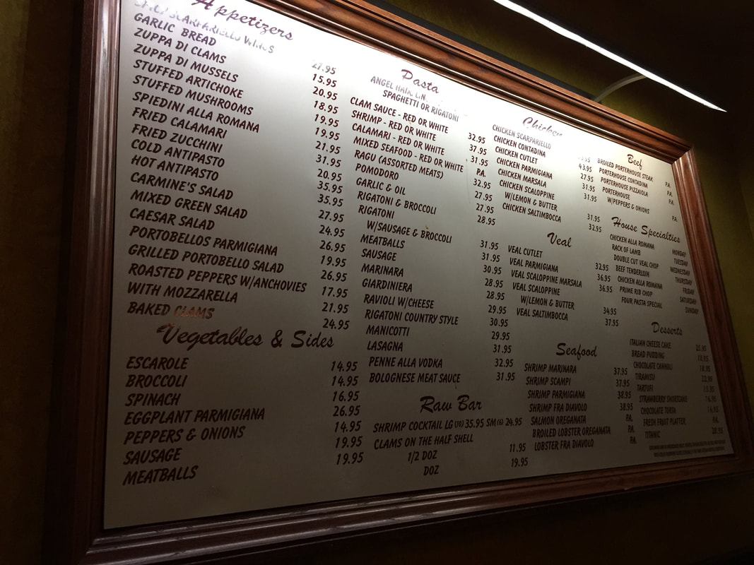 Carmine's Menu in Washington DC