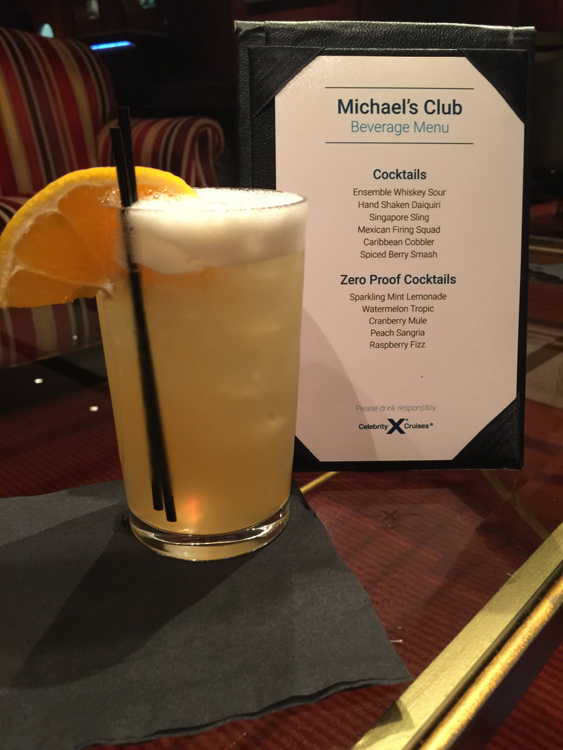 Menu from Michael's Club on Celebrity Cruises