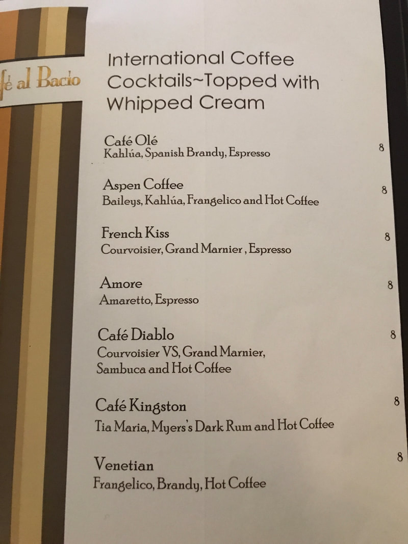 Cocktails on Cafe al Bacio Menu on Celebrity Cruises