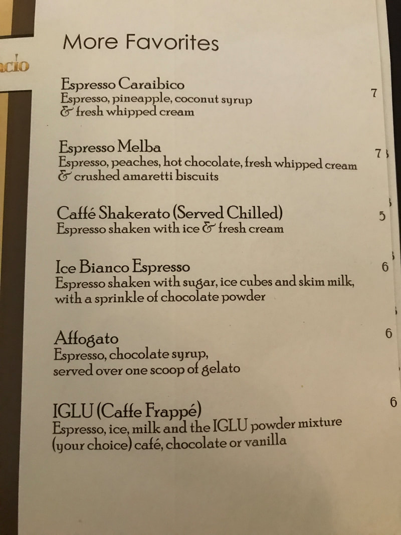 Best drinks from Cafe al Bacio Menu on Celebrity Cruises