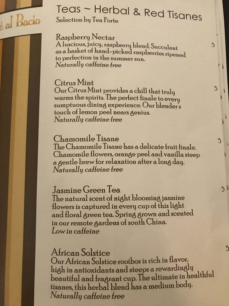 Herbal Teas Cafe al Bacio Menu on Celebrity Cruises
