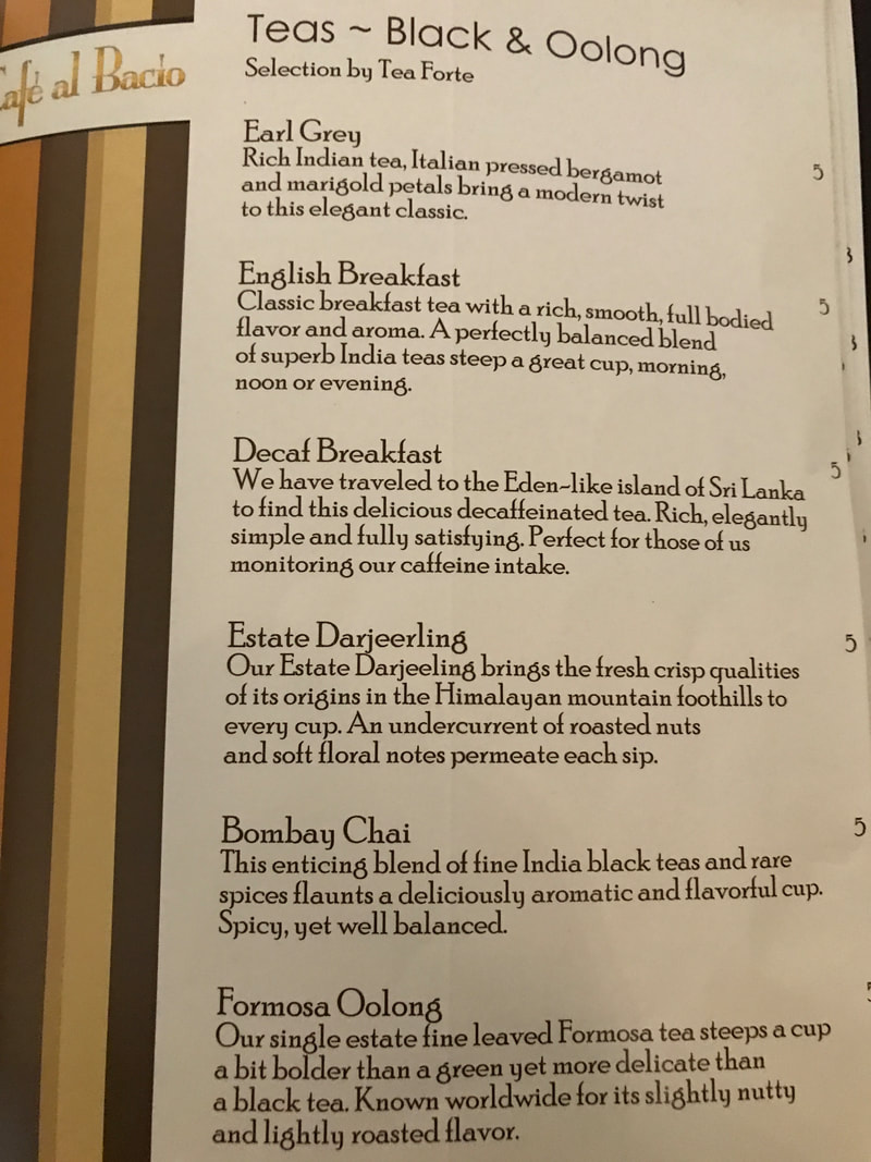 Tea on Cafe al Bacio Menu on Celebrity Cruises