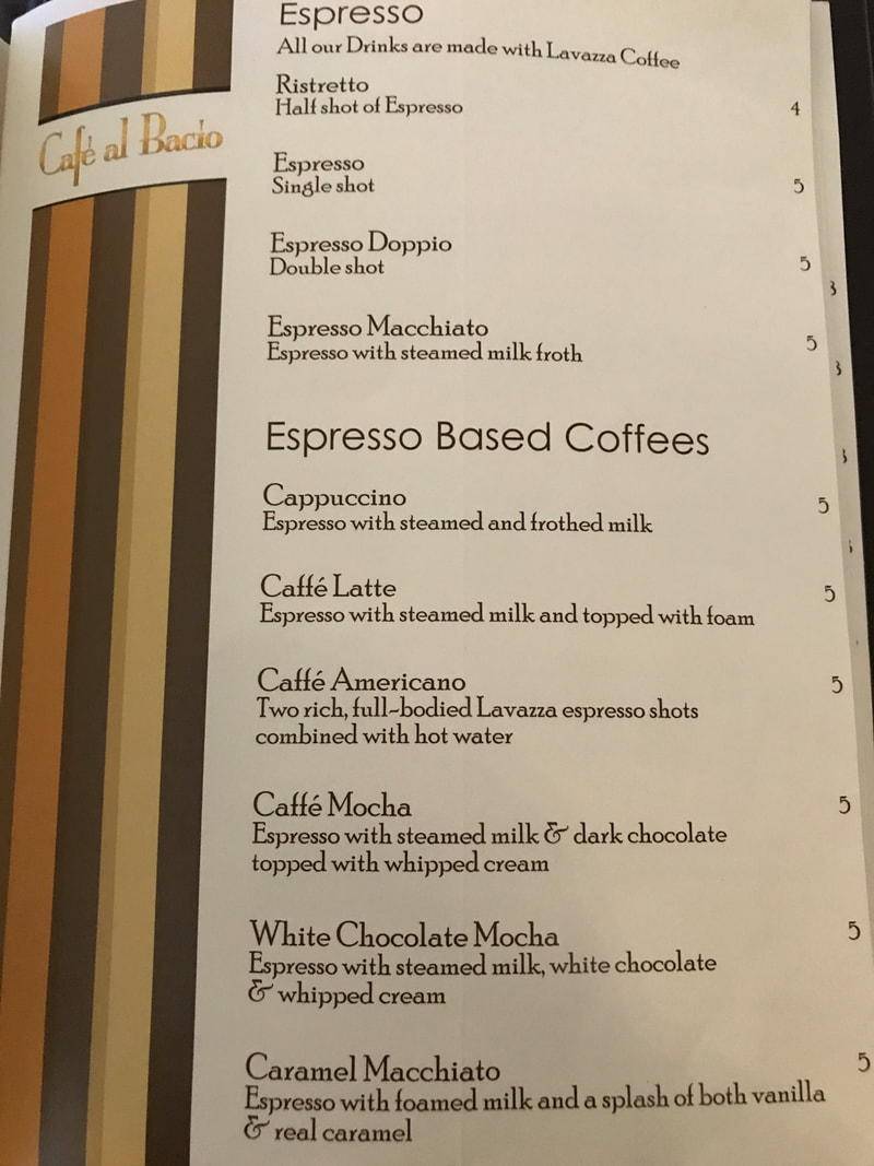 Coffee drinks at Cafe al Bacio on Celebrity Cruises
