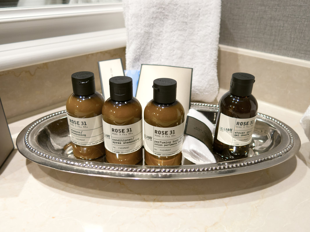 Bath amenities at Fairmont Hotel Washington DC