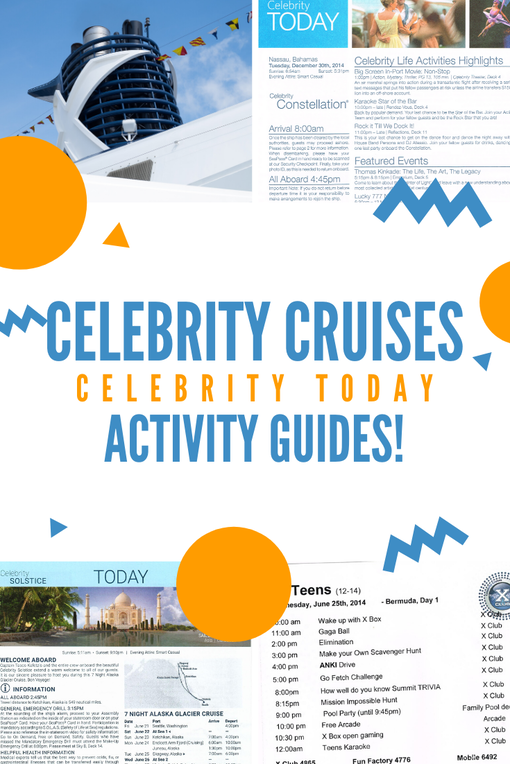 Celebrity Todays! Celebrity Cruises activity guides from cruises to Bahamas, Caribbean, Alaska and more.