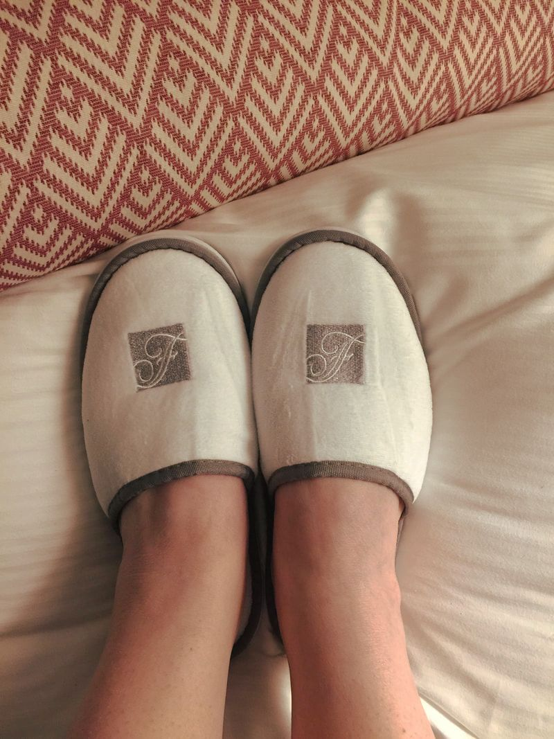 Comfy slippers in room at Fairmont Washington DC