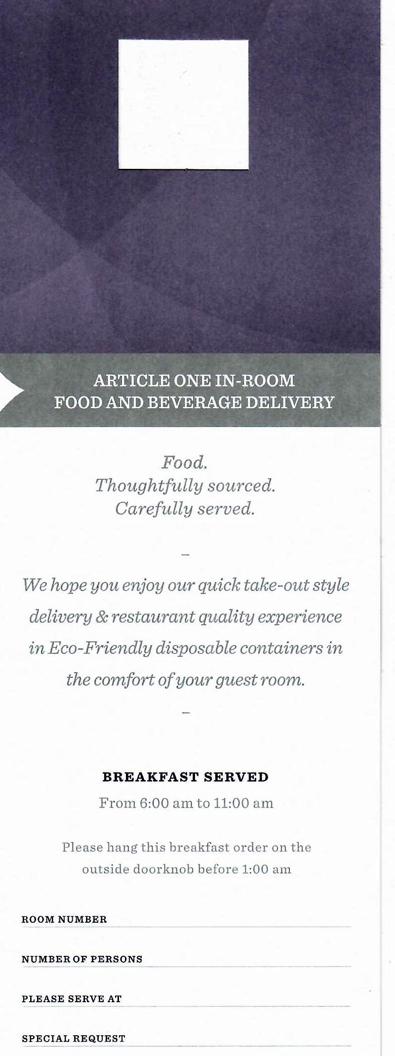 Hyatt Regency Washington Room Service Menu